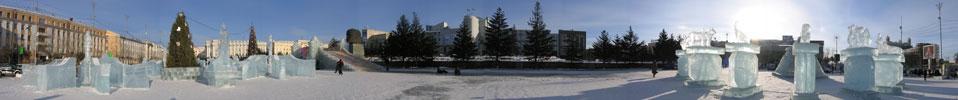 Фотографии Улан-Удэ 2008. Панорама ледяного городка на площади Советов